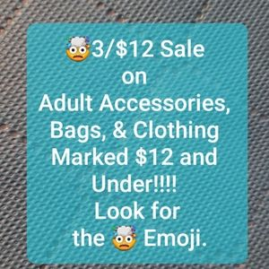 3/$12 Sale on Clothing & Accessories $12 & Under!
